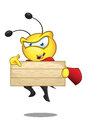 Super bee pointing at wooden sign a cartoon illustration of a cute character Stock Photography
