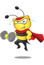 Super bee weight lifting a cartoon illustration of a cute character Stock Images