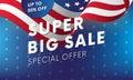 Super big sale. Up to fifty percent off. Vector illustration.