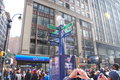 Super bowl boulevard new york city times square in nyc is transformed into for xlvii february Royalty Free Stock Photo