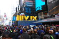 Super bowl boulevard new york city times square in nyc is transformed into for xlvii february Stock Photography