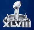 Super Bowl XLVIII  logo presented on Broadway at Super Bowl XLVIII week in Manhattan Royalty Free Stock Photo