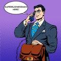 Super businessman hero talking phone success
