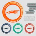 Super Car icon on the red, blue, green, orange buttons for your website and design with space text.