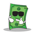 Super cool Dollar character cartoon style Royalty Free Stock Photo