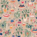 Super cute Hygge Christmas home chill out with hot drinks, home plants and cats. Seamless vector repeat pattern