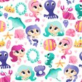 Super Cute Mermaids Sea Creatures Seamless Pattern Background