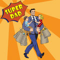 Super Dad with kids on his hands and Shopping Bags