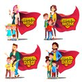 Super Dad, Mom Vector. Mother And Father Like Super Hero With Children. Shield Badge. Isolated Flat Cartoon Illudtration