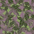 Super Detailed Leaf Seamless Pattern in Green and Purple