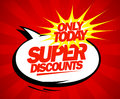 Super discounts design pop art style in Royalty Free Stock Image