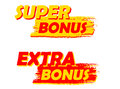 Super and extra bonus yellow and red drawn labels banners text in business shopping concept Stock Photo