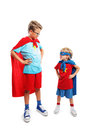 Super friends portrait of a team of two young superheroes Stock Images