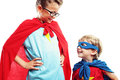 Super friends two superheroes are ready to save the world Royalty Free Stock Image