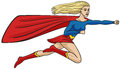 Super girl flies through the air and the wind stretches her cloak Stock Image