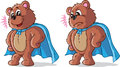 Super hero bear two expressions of a Stock Image