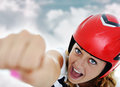 Super hero beautiful woman flying Stock Image