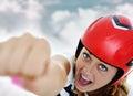Super hero woman flying Royalty Free Stock Photo
