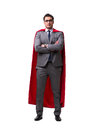 The super hero businessman isolated on white