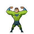 Super hero in green suit strong superhero Stock Image