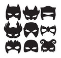 Super hero masks for face character in black. Silhouette mask on white Royalty Free Stock Photo