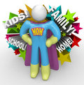 Super Hero Mother Mom Cape Outfit Save the Day Royalty Free Stock Photography