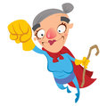 Super hero old woman grandmother flying holding a walking stick Stock Photography