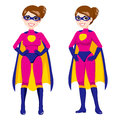 Super hero pink woman illustration of beautiful sexy in front and side pose with superhero costume Stock Photo
