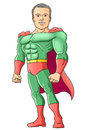 Super hero smiling in brave pose vector illustration Stock Photo