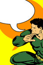 Super hero with speech bubble illustration of a comic book retro style illustration Royalty Free Stock Photography
