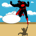 Super hero with speech bubble illustration of a landing on a rooftop comic book retro style illustration Stock Photo