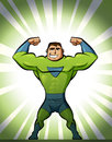 Super hero in suit in green background strong superhero and Stock Image