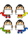 A super man character holding blank board in different colours eps Stock Photography