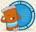Super Medicine Bottle Character Celebrating World Antibiotic Awareness Week, Vector Illustration