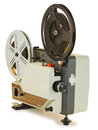Super mm film projector antique isolated over white background clipping paths are included and shadow separated Royalty Free Stock Images