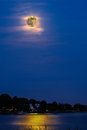 Super moon evening montage with water Royalty Free Stock Photography