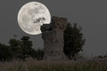Super moon at stonehenge of Thailand Royalty Free Stock Photo