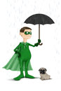 Super normal hero the protect the small dog from the rain Stock Image