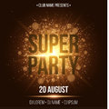 Super party. Luxurious invitation card. A golden flash with gold dust. Night party. Enter your DJ and club name. Poster for your p
