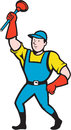 Super plumber wielding plunger cartoon illustration of a holding done in style on isolated background Royalty Free Stock Photography