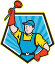 Super plumber wielding plunger pentagon cartoon illustration of a holding done in style set inside shape on isolated background Stock Images