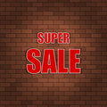 Super sale banner on a brick wall. Vector illustration