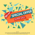 Super sale special offer paper banner off web flyer concept price label discount tag vector sticker Stock Photos
