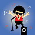 Super star cartoon singer style Stock Image