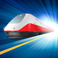 Super streamlined train high speed passing station with motion blur vector illustration Stock Images
