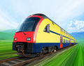 Super streamlined train on rail Stock Photos