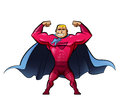 Super strong hero in red suit and a power gesture powerful superheroes Royalty Free Stock Image