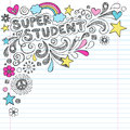 Super student back to school sketchy doodles vecto notebook hand drawn vector illustration on lined notebook paper Stock Photography