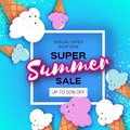 Super Summer Sale with ice-cream cones in paper cut style. Origami Melting ice cream on blue. Space for text. Square Royalty Free Stock Photo