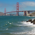 Super tanker going under the golden gate bridge san francisco panorama of suspension spanning opening of bay into pacific ocean Stock Photography